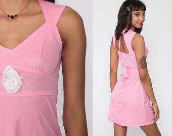 Pink Babydoll Dress 70s CAMO Backless Boho Mini Dress 60s KEYHOLE Cut Out 1970s Empire Vintage Bubblegum Dolly Lolita Extra Small xs
