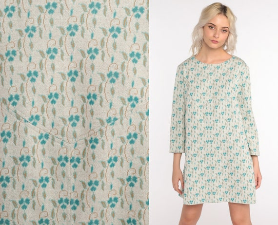 60s Mod Dress Floral Mini Dress Blue Shift Dress Polyester Twiggy 70s Hippie Vintage Boho Sixties Minidress Shift 1960s Retro Large