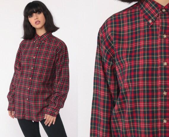 PENDLETON Plaid Shirt 90s Long Sleeve Button Up Grunge Lumberjack Wool Vintage 1990s Retro Red Green Collared Tartan Shirt Small Medium