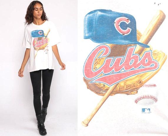 Chicago Cubs Shirt Baseball Tee Shirt 90s Baseball Shirt MLB Graphic Sports Retro Tshirt Vintage Blue T Shirt 90s Sportswear Extra Large xl