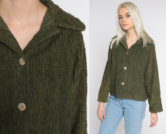 Olive Green Jacket 90s Jacket Textured Cotton Jacket Lightweight Fall Jacket Button Up Basic Plain 1990s Vintage Normcore Small