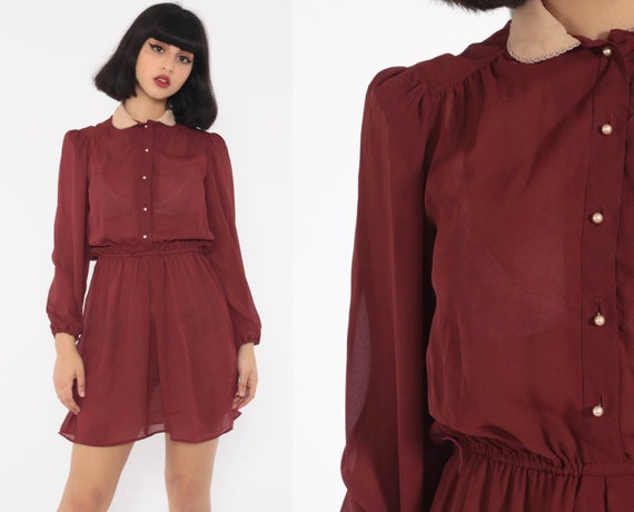 Peter Pan Collar Dress Mini Puff Sleeve 80s Secretary 1980s Sheer Button Up Vintage Slouchy Long Sleeve Tan Brown Small