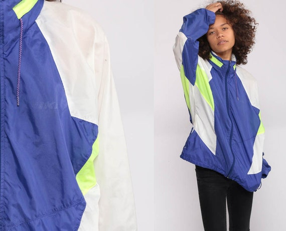 Nike Windbreaker Jacket Shell Zip Jacket Streetwear Jacket Color Block Purple White Neon Green Vintage Retro Sports Small Medium