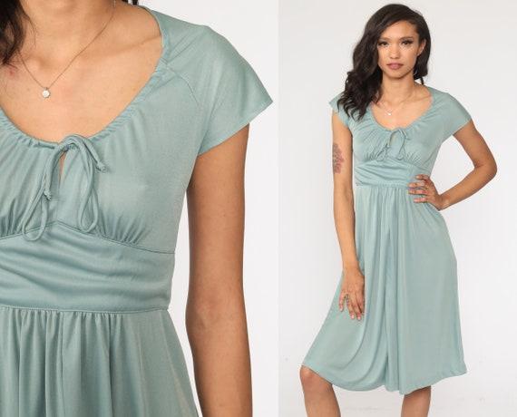 70s Grecian Dress Green V Neck Dress Disco Dress 1970s Midi Dress Boho Party Empire Waist Cap Sleeve Drape Extra Small xs