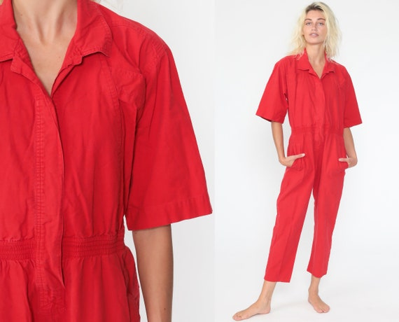 DVF Red Cotton Jumpsuit 80s Diane Von Furstenberg Button Up Tapered Leg Pants Plain Pantsuit Vintage Short Sleeve Romper 1980s Medium
