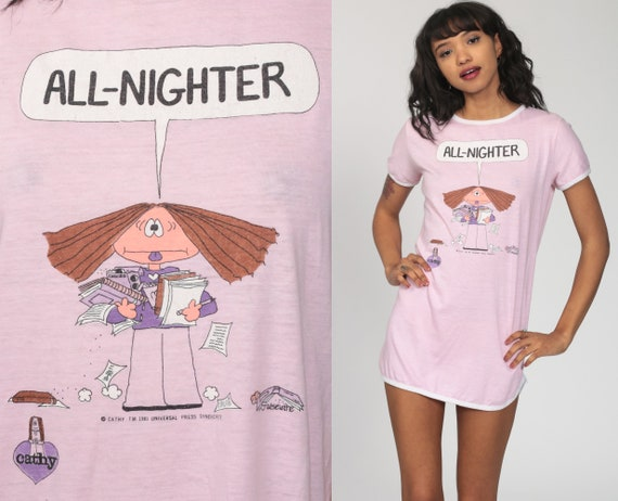Cathy Comics Pajama Dress Pink ALL NIGHTER Graphic Guisewite Nightie Night Shirt Sleep Nightgown 80s Ringer Dress Mini Vintage Small Medium