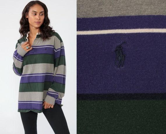 Ralph Lauren Polo Shirt 90s Grunge Striped Long Sleeve Purple Baggy Oversized Preppy Pullover Vintage Retro 90s Streetwear RLP Medium