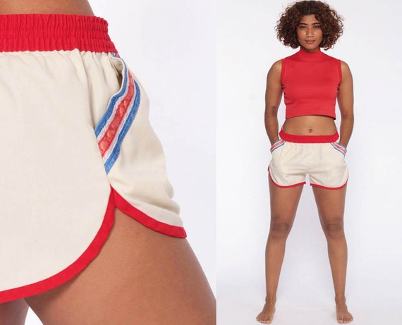 70s Running Shorts 80s Retro Gym STRIPED High Waisted