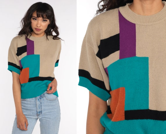 80s Knit Top Color Block Striped Shirt Short Sleeve Sweater Top Taupe Bohemian Retro Tee Vintage 1980s Medium Large