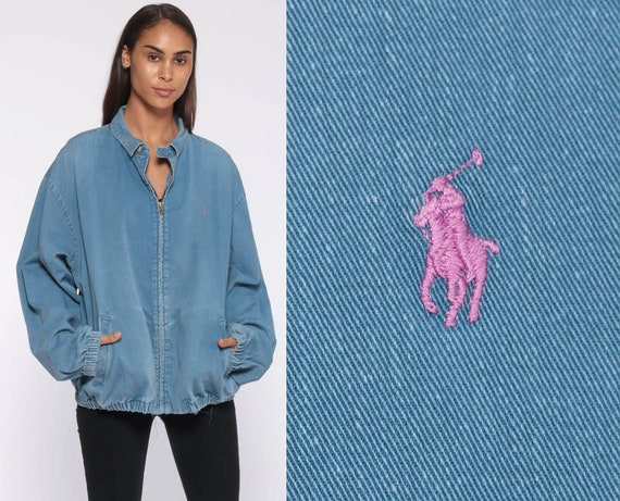 Ralph Lauren Denim Jacket -- 90s 80s Light Blue Denim Jacket POLO Sport Baby Blue Bomber Vintage 1990s Streetwear Sportswear Extra Large xl