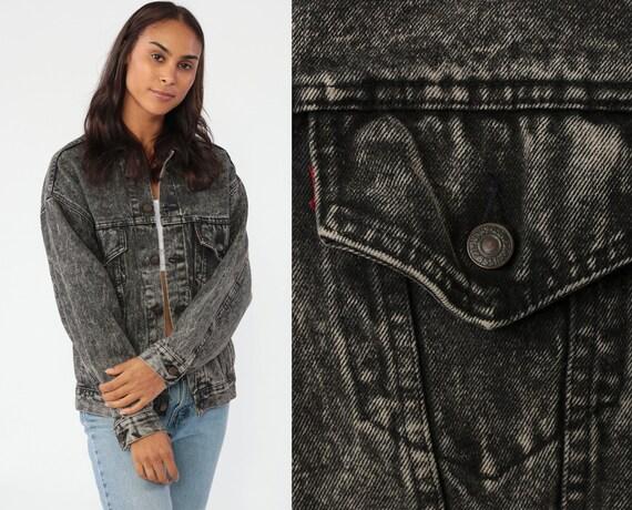 Faded Black LEVIS Jacket -- Denim Jacket 80s Levi Jean Jacket USA Grey Acid Wash Distressed Biker Oversized Trucker 90s Vintage Small