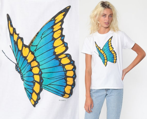 Butterfly T Shirt 90s Single Stitch Tshirt White Insect 80s Wildlife Animal Vintage Graphic Tee Shirt Oneita Extra Small xs