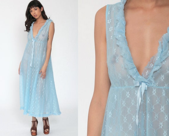 Lace Nightgown Lingerie Slip Dress 70s Maxi Boho Blue Sheer Nightgown Deep V Neck Empire Waist Vintage Bohemian Large