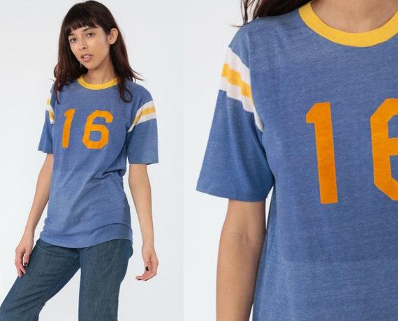 Football Shirt 80s Ringer Shirt Striped Blue 16 Cotton Poly Paper Thin Burnout Yellow Lil' Burr 1980s Vintage Retro Athletic Medium