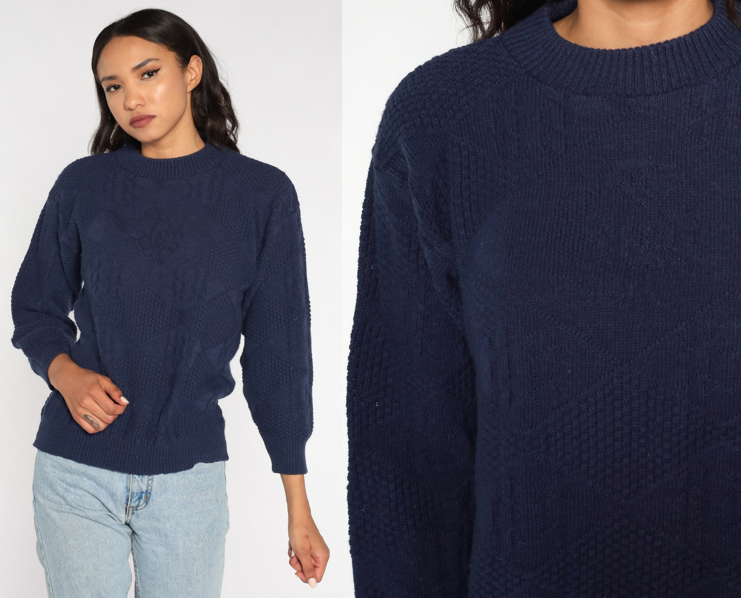 80s Sweatshirts, Sweaters, Vests | Women 80S Sweater Navy Blue Slouchy Knit Textured 1980S Jumper Vintage Plain Acrylic Normcore Retro Small $39.00 AT vintagedancer.com