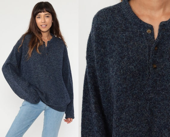 Pendleton Wool Sweater Blue Sweater 80s Navy Blue Pullover Jumper Slouch 1980s Vintage Grandpa Plain Oversize Button Neck Large xl l