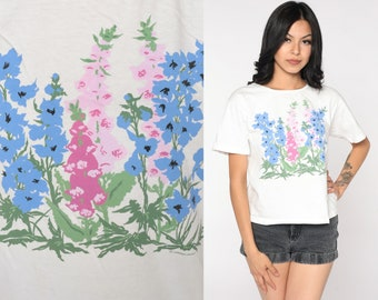 Floral T Shirt 90s Floral Tee White Pink Graphic Tshirt Short Sleeve TShirt Flower Print Shirt 1990s Vintage Small S