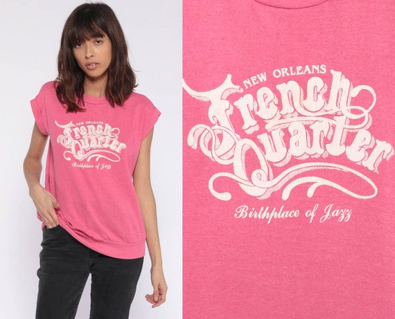 New Orleans Shirt French Quarter 80s BIRTHPLACE OF JAZZ Music Tee Pink Retro 1980s Vintage T Shirt Graphic Short Sleeve Sweatshirt Small