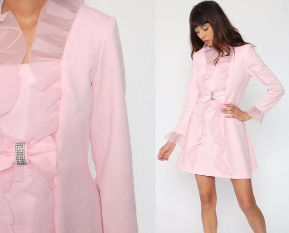 Baby Pink Dress 70s Tuxedo Ruffle Party Mod Mini Dress 60s RHINESTONE Twiggy Party Cocktail Shift Formal Long Sleeve Minidress Vintage Small