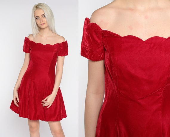 Velvet Mini Dress 80s Party Dress Red Off Shoulder Dress Scalloped Fit and Flare Skater Prom 1980s Cocktail Vintage Minidress Small S