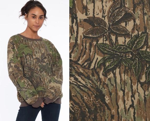 90s REAL TREE Sweatshirt Army Camouflage Hunting Sweatshirt Ringer Shirt Camo Green 80s Military Shirt Long Sleeve Grunge Large