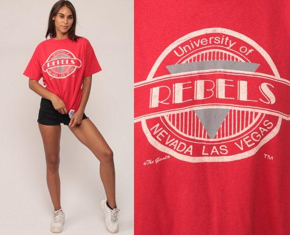 University Tshirt LAS VEGAS REBELS Shirt University Of Nevada 80s Graphic Runnin Rebels Raglan College Unlv Red Print Large