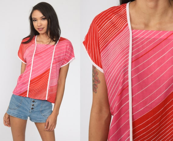 70s Retro Shirt Pink Striped T Shirt Red Baby Tee 80s Tshirt Cap Sleeve Top Vintage Medium
