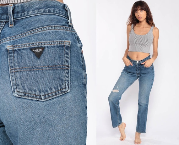 GUESS Jeans Mom Jeans Distressed Straight Leg High Waist Jeans 90s Jeans High Waisted Denim Pants 1990s Vintage Hipster Small 4 27