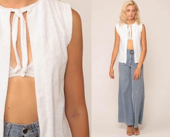 White Vest Top 70s Shirt TERRY CLOTH Sleeveless Vintage Hippie Boho Open Front Retro Terrycloth Hippy Bohemian Small