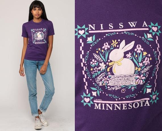 Rabbit Shirt Nisswa MINNESOTA Graphic Shirt 80s Animal TShirt Bunny Tee Vintage Retro Shirt Screen Print 1980s T shirt Purple Extra Small xs