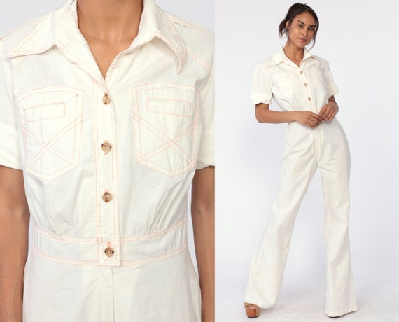 70s Jumpsuit Bell Bottom Jumpsuit Sailor One Piece Off-White Collared Playsuit Button Up 1970s Hipster Vintage Disco Retro Small Medium 6 8