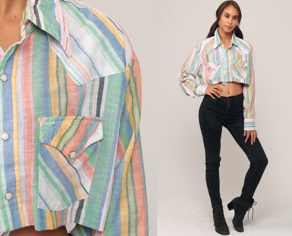 Western Crop Top Striped Shirt Crop Top 70s Blouse Cowboy Pearl Snap 1970s Button Up Vintage Long Sleeve White Green Blue Large