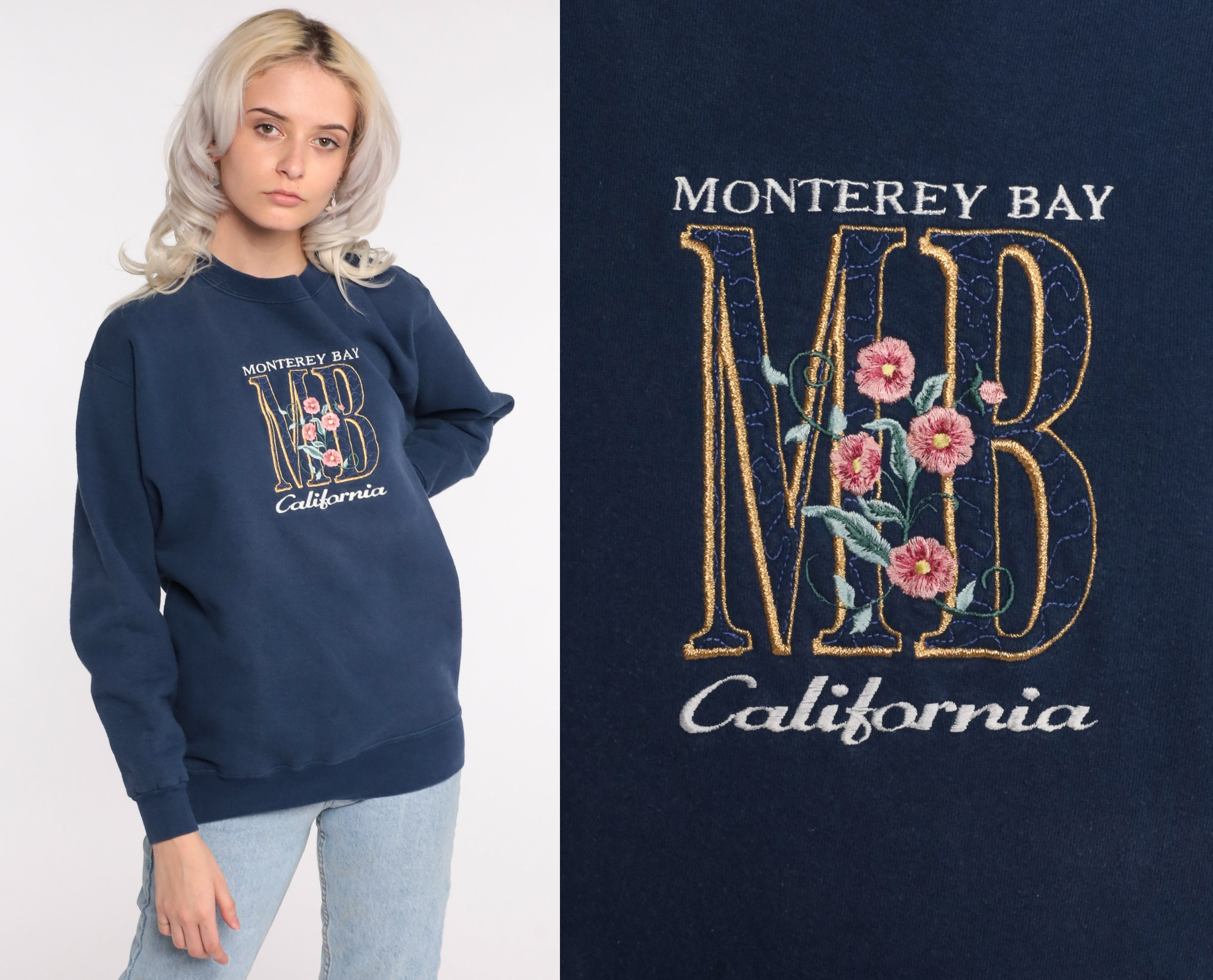 80s Tops, Shirts, T-shirts, Blouse   90s T-shirts Monterey Bay Sweatshirt 80S Floral Embroidered Navy Blue Shirt California Pullover 1980S Graphic Vintage 90S Small Medium $55.00 AT vintagedancer.com