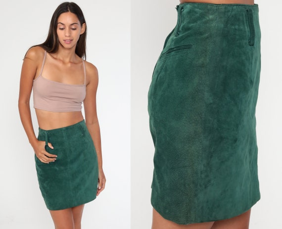 Green Leather Skirt 90s Mini Skirt Suede Wiggle Skirt Pencil Party Skirt  1990s Vintage High Waist Hipster Extra Small xs