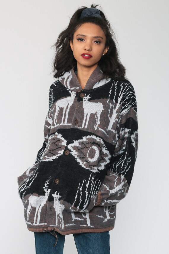 Animal Hoodie Sweater 90s Deer Button Up Cardigan… - image 3