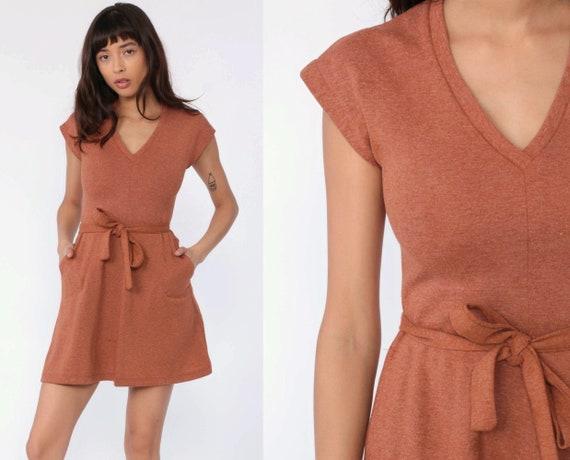 Belted Mini Dress 70s Dress Plain Orange-Brown V Neck Retro Sheath Dress Cap Sleeve Pocket Minidress Vintage Hipster Simple Shift Small