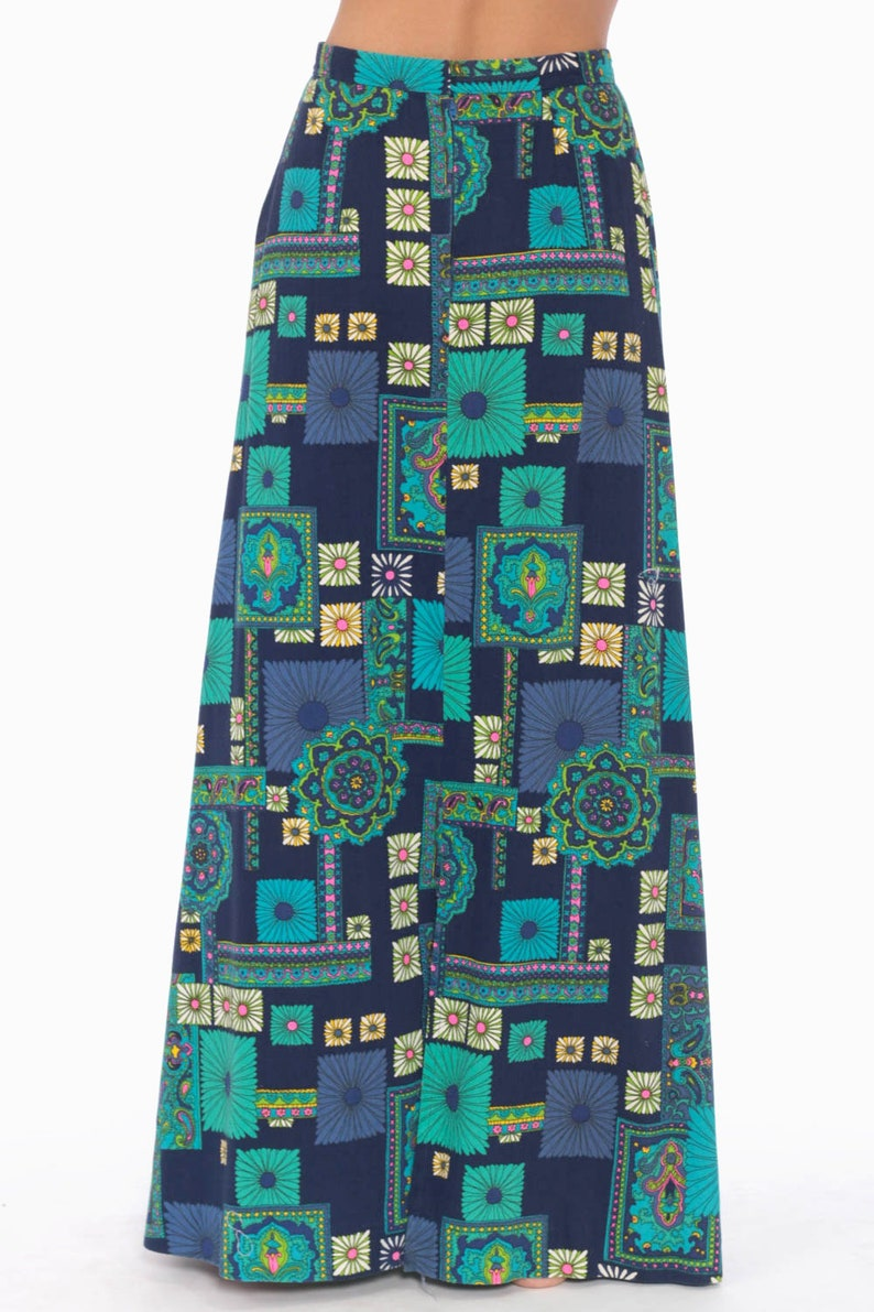 Bohemian Skirt Maxi 70s Long Floral Print Psychedelic High Waisted Hippie 1970s Boho Vintage Bohemian Retro Blue Extra Small xs