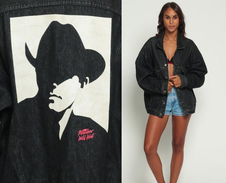 48a4cc0de64 Marlboro Jacket 80s Black Denim Jacket Jean Jacket Marlboro