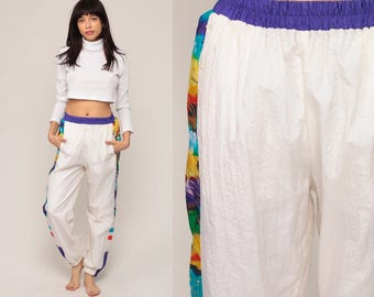 90s Track Pants Jogging Pants White Warmup Track Suit Streetwear Athletic Sports Vintage Retro Gym Jogging Running Joggers Small Medium