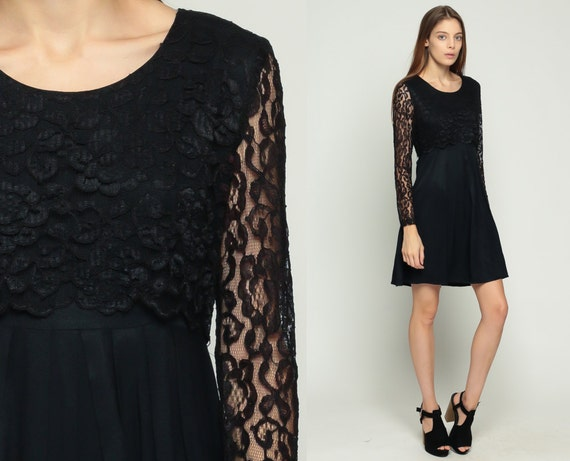 Black LACE Dress 70s Party Mini Mod Pleated Gothic Sheer Sleeve Cocktail Hippie Boho Vintage 1970s Goth High Waisted Long Sleeve Medium