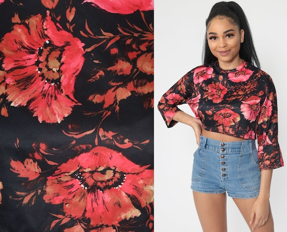70s Crop Top Black Pink Floral Shirt Boho Shirt Hippie 3/4 Sleeve 60s Cropped Top Bohemian Vintage Seventies Small Medium