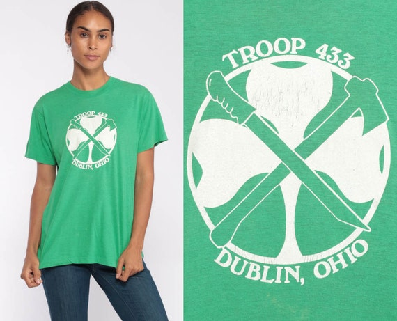 Dublin Ohio Boy Scout Shirt 90s Tshirt Troop 433 Tshirt Vintage Retro T Shirt 1990s Lucky Clover Screen Print Medium Large