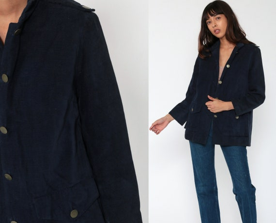 Blue Corduroy Blazer Jacket 70s Blazer Jacket Preppy Professor Fitted Women Vintage 1970s Collared Coat Boho Medium 8