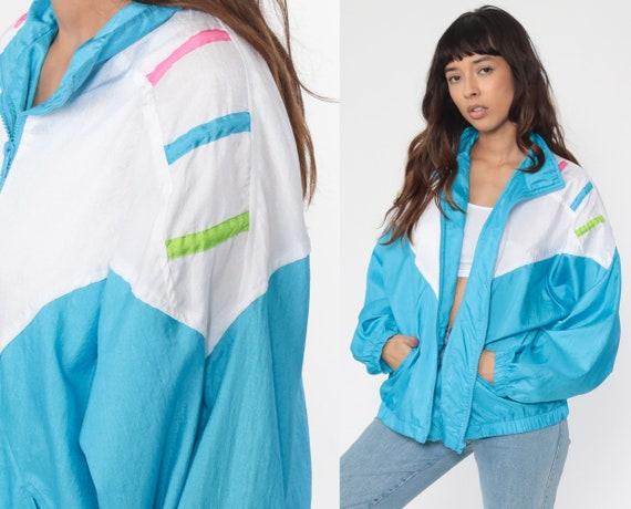 90s Color Block Windbreaker Blue White Jacket Shiny Warmup Purple Warm Up Vintage Zip Up Retro Striped 1980s Sportswear Medium Large