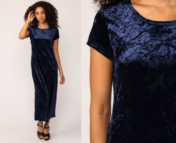 Blue Velvet Dress 90s Drape HIGH SLIT Witch Crushed Velvet 80s Party Gothic Maxi Grunge Bodycon Wiccan Vintage 1990s Short Sleeve Small