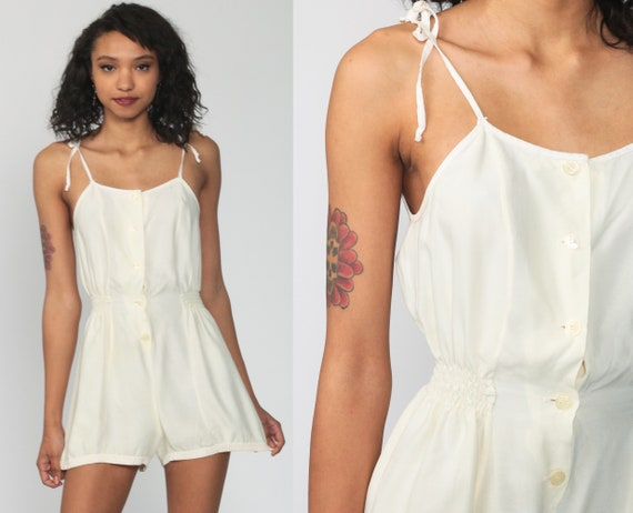 80s Playsuit Romper Shorts Cream Yellow Summer Romper High Waisted 70s Spaghetti Strap One Piece Bloomer Short Vintage Sleeveless Small s