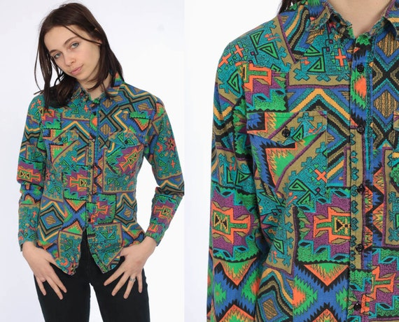 80s Tribal Button Up Shirt Southwestern Green Long Sleeve 1980s AZTEC Top Western Shirt Boho 90s Vintage Long Sleeve Bright Extra Small xs