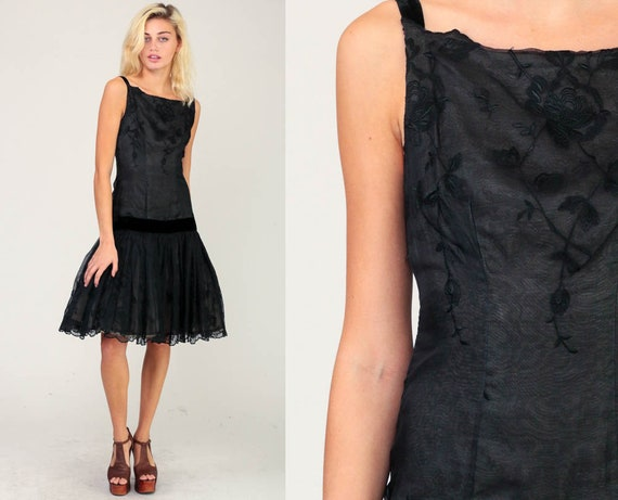 50s Party Dress Prom BOW Dress Cocktail Black Party Formal Prom 1950s Mad Men Midi Evening Drop Waist Vintage Betty Carol Small