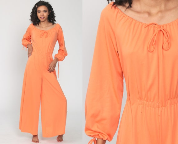70s Wide Leg Jumpsuit Dress PALAZZO Pants Wide Leg Jumpsuit Orange Boho Peasant 1970s Long Sleeve Vintage Pantsuit Bohemian Medium