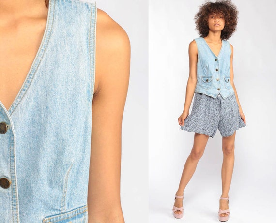 Summer Romper Floral Playsuit DENIM Grunge Romper Dress 90s Boho One Piece Woman Mini Jean Wide Leg Onesie Button Up Sleeveless Extra Small